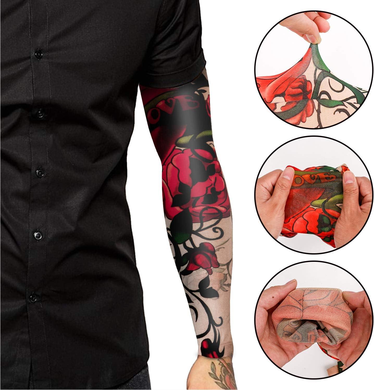 Unisex Tribal t/ótem cr/áneo Flor Moda Tatuajes Mangas Ciclismo al Aire Libre Baloncesto Protector Solar Nylon Estiramiento Tatuajes Mangas Qpout 15 Piezas Brazo Tatuajes Mangas para Hombres Mujeres