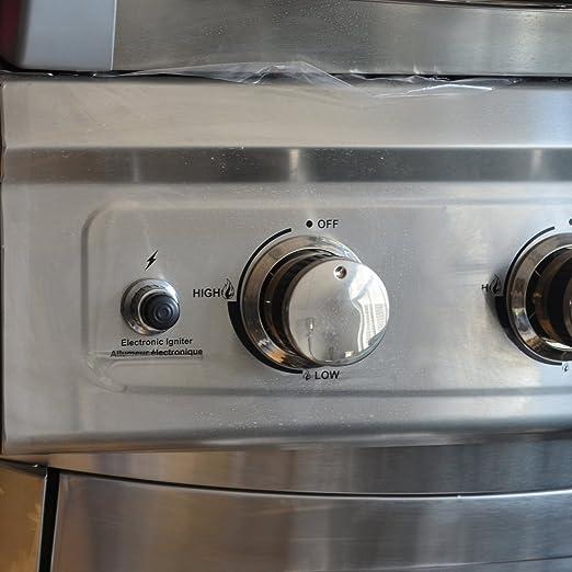 onlyfire BBQ Tres puertos bater/ía el/éctrica Impresi/ón bot/ón encendido piezoel/éctrico Repuesto para barbacoa parrilla de gas Cigarrillos 3 quemadores,Plata