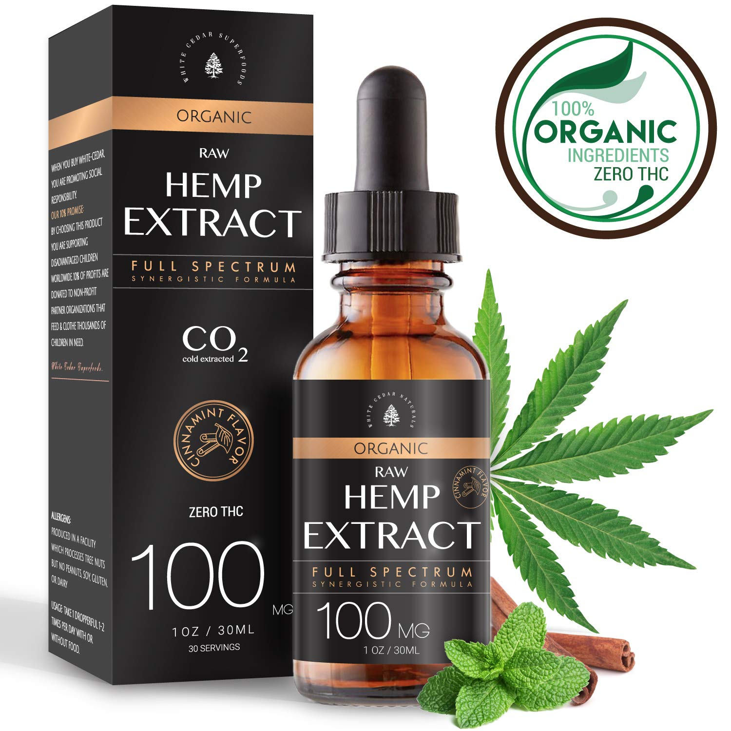 USDA Organic Raw Hemp Extract for Pain & Anxiety Relief (100MG), Cinnamint Flavor, Full Spectrum, Blended with Organic Hemp Seed Oil for Optimal Absorption, CO2 Cold Extracted, Kosher, Vegan, GF, 1oz