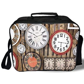 Bolsa de almuerzo aislada, decoración de reloj, relojes antiguos, instrumentos de pared del