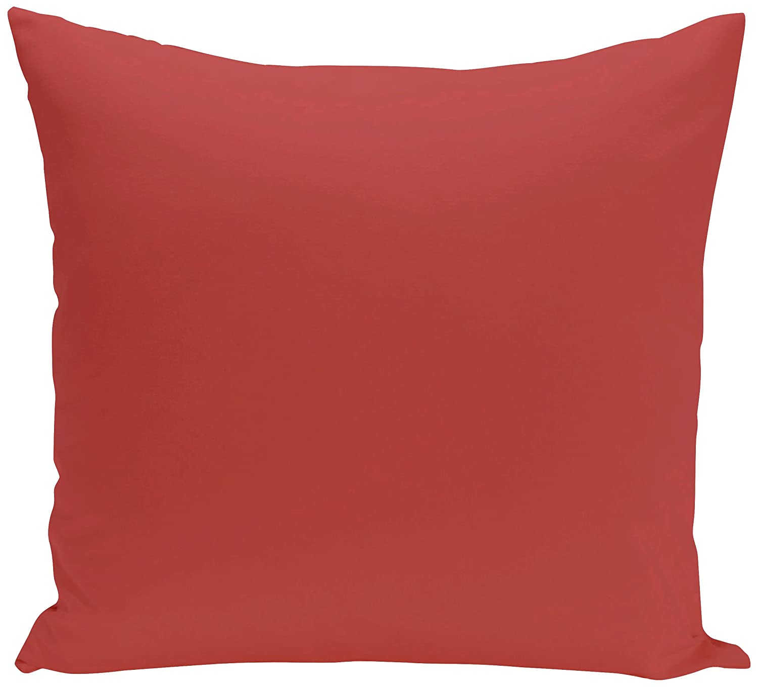 E by design PSOOR15-18 18 x 18-inch, Solid Print Pillow, Coral 18x18 Red/Orange