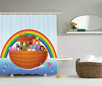 Amazon Com Ambesonne Noah S Ark Decor Collection Noah Ark Colorful