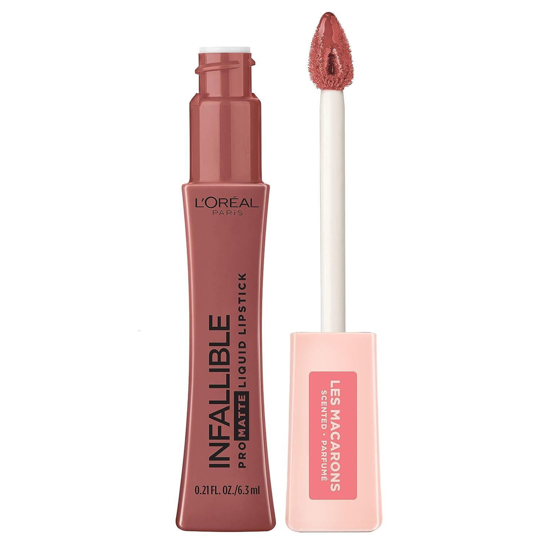 L'Oreal Paris Makeup Infallible Pro Matte Les Macarons Scented Matte Liquid Lipstick, Highly Pigmented, Longwear, Waterproof & Smudge Proof, Mon Caramel, 0.21 fl. oz.