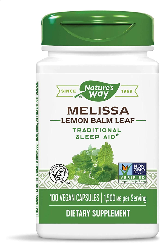 Nature's Way Premium Herbal Melissa Lemon Balm Leaf, 1,500 mg per serving, 100 Capsules (Packaging May Vary)