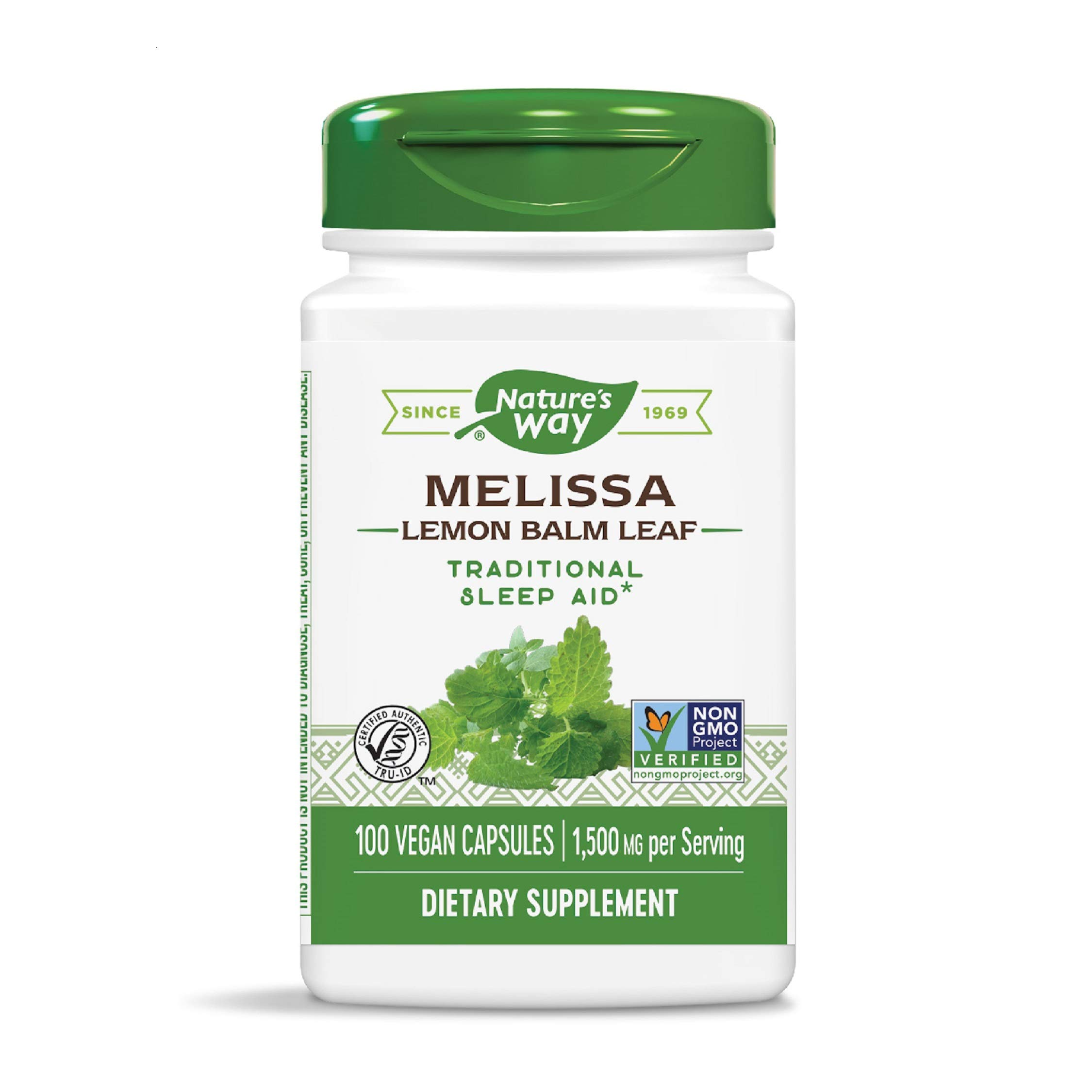 Nature's Way Premium Herbal Melissa Lemon Balm Leaf, 1,500 mg per serving, 100 Capsules