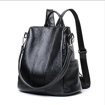 HUANGDA Mochila de cuero, bolso de los deportes ocasionales, bolso de hombro del viaje del ladrón (Color : Black): Amazon.es: Equipaje
