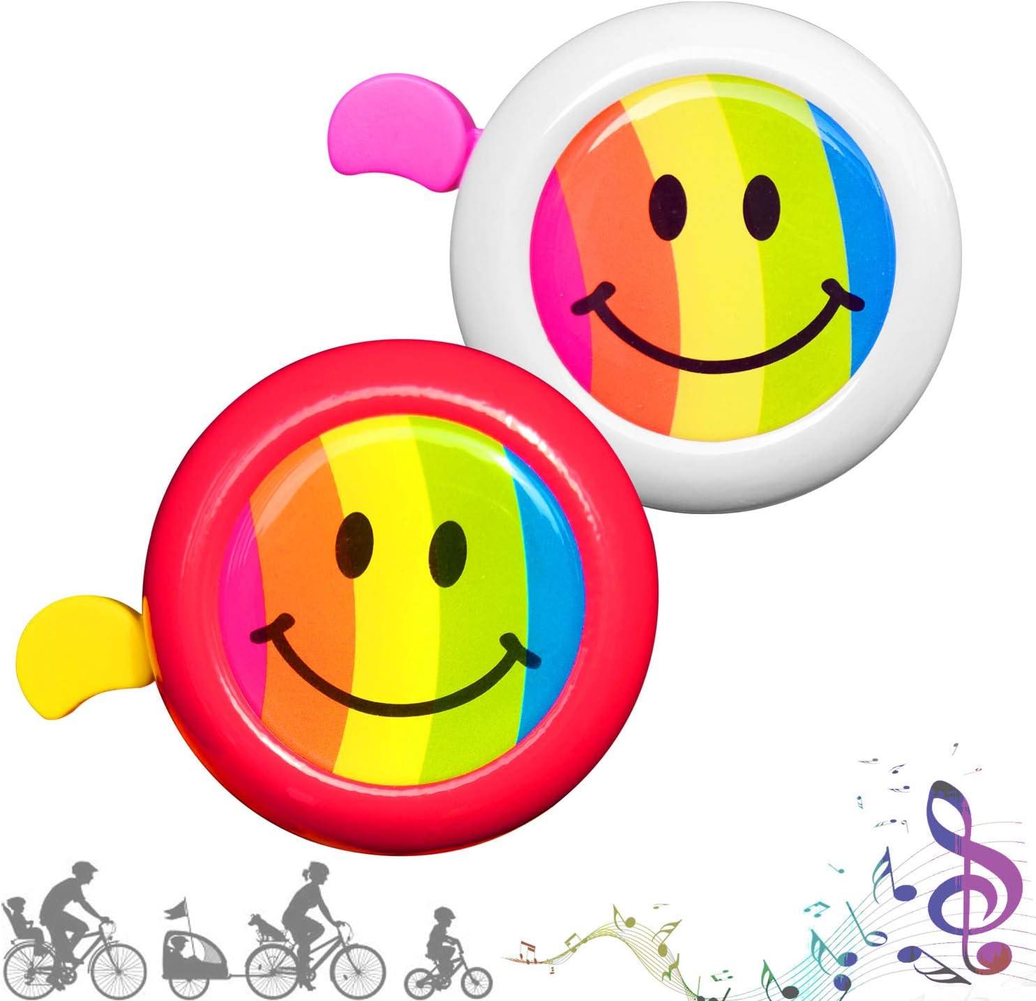 CUKCIC Timbres para Ciclismo Campana para Bicicletas para Infantiles Kid Niño Niña 2piezas (Blanco-Rosa; Rojo-Amarillo): Amazon.es: Deportes y aire libre