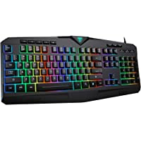 PICTEK RGB Gaming Keyboard USB Wired Keyboard, Crater Architecture Backlit Computer Keyboard with 8 Independent Multimedia Keys, 25 Keys Anti-ghosting, Splash-Proof, Ideal for PC/Mac Game, Black