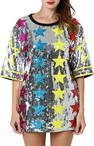Camisetas de Lentejuelas para Mujer Manga Corta Camisa Larga ...