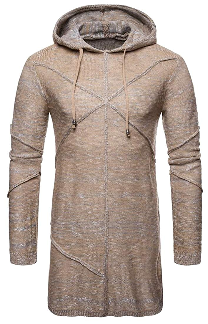 Fensajomon Mens Knitted Solid Color Casual Mid Length Long Sleeve Hooded Winter Pullover Sweaters