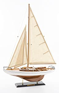 SAILINGSTORY Wooden Sailboat Decor, Sailboat Model Ship Decoration Concordia
