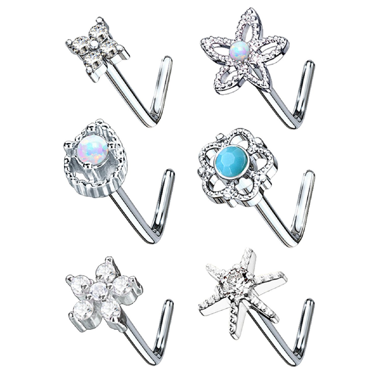 BodyJ4You 6PC Nose Rings 20G Pin Stud L-Shape Steel Star Flower CZ Nostril Women Girl Piercing Jewelry by BodyJ4You
