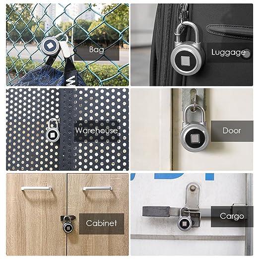 Decdeal BT Fingerprint - Cierre inteligente sin llave, antirrobo para puerta de equipaje, con bloqueo, resistente al agua, botón de aplicación, ...