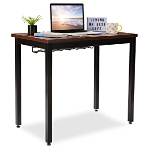 "Small Computer Desk for Home Office - 36"" Length Table w/Cable Organizer - Sturdy and Heavy Duty Writing Desk for Small Spaces and Students Laptop Use - Damage-Free Promise (Teak)"