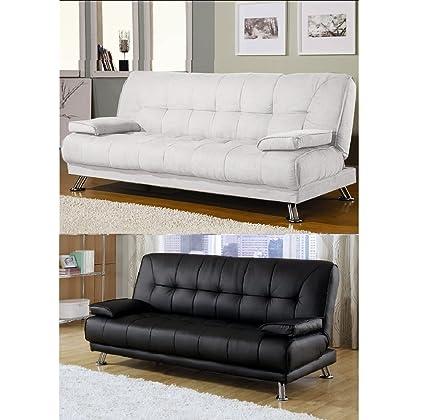 Divano letto sofa 187x88 bianco ecopelle braccioli antiribaltamento ...