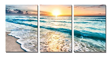 amazon com yang hong yu art prints beach canvas moving wave