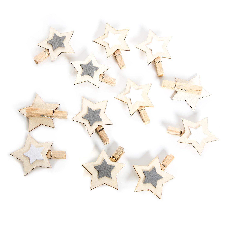 12 St/ück kleine grau wei/ß natur Holzsterne Sterne Holz Holzklammer Deko-Klammer Zier-Klammer Weihnachten Weihnachts-Deko 6 cm W/äscheklammern Clips weihnachtliche Verpackung Geschenkanh/änger