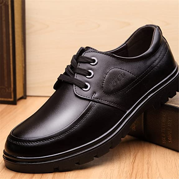 Shoes Men's Shoes Leather Spring Summer Fall Comfort Formal Shoes Lace-up For Casual Black (Color : Black Size : 39)