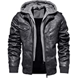 TACVASEN Men's Faux-Leather Jacket Motorcycle Biker Jackets with Removable Hood