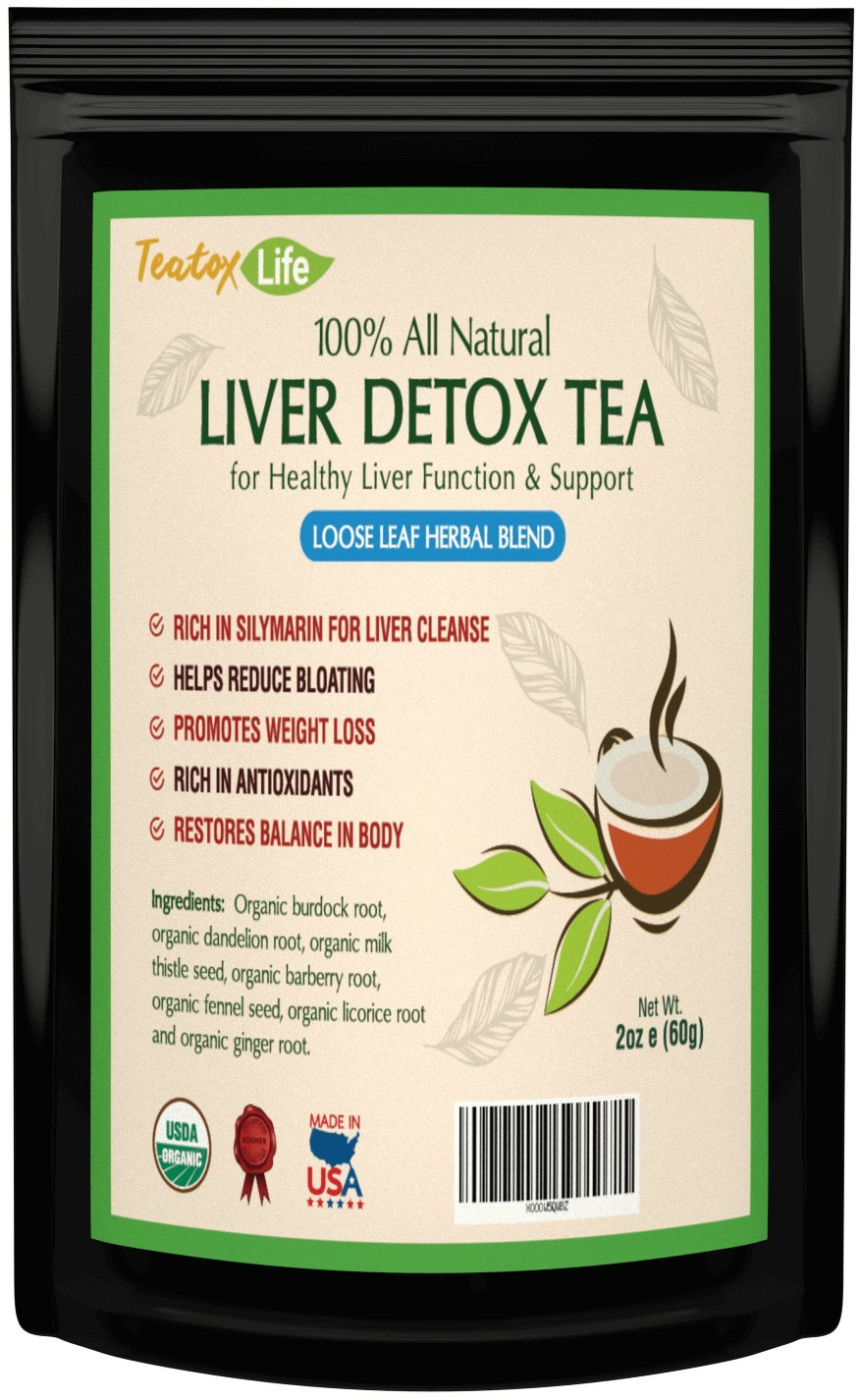 Liver Detox tea with burdock root, dandelion for liver cleanse, detoxifier & regenerator with milk thistle - 60 gms | Made in USA| USDA Certified