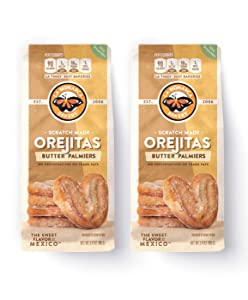 Orejitas - Flaky and Crunchy Mini Palmiers made with Real Butter and Lightly Dusted with Sugar (2 bags, 4oz) - La Monarca Bakery