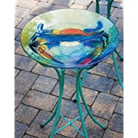 Evergreen Coastal Crab Glass Bird Bath Bowl - 18€L x 18€W x 3€H