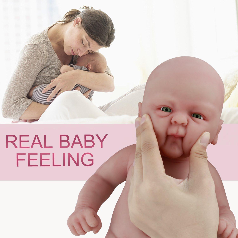 PVC-frei Junge die echt Aussehen Vollence 36 cm Lebensechte Reborn Babypuppen Echte realistische Baby Puppe mit vollgewichtetem K/örper handgefertigte s/ü/ße Baby-Puppe mit Kleidung