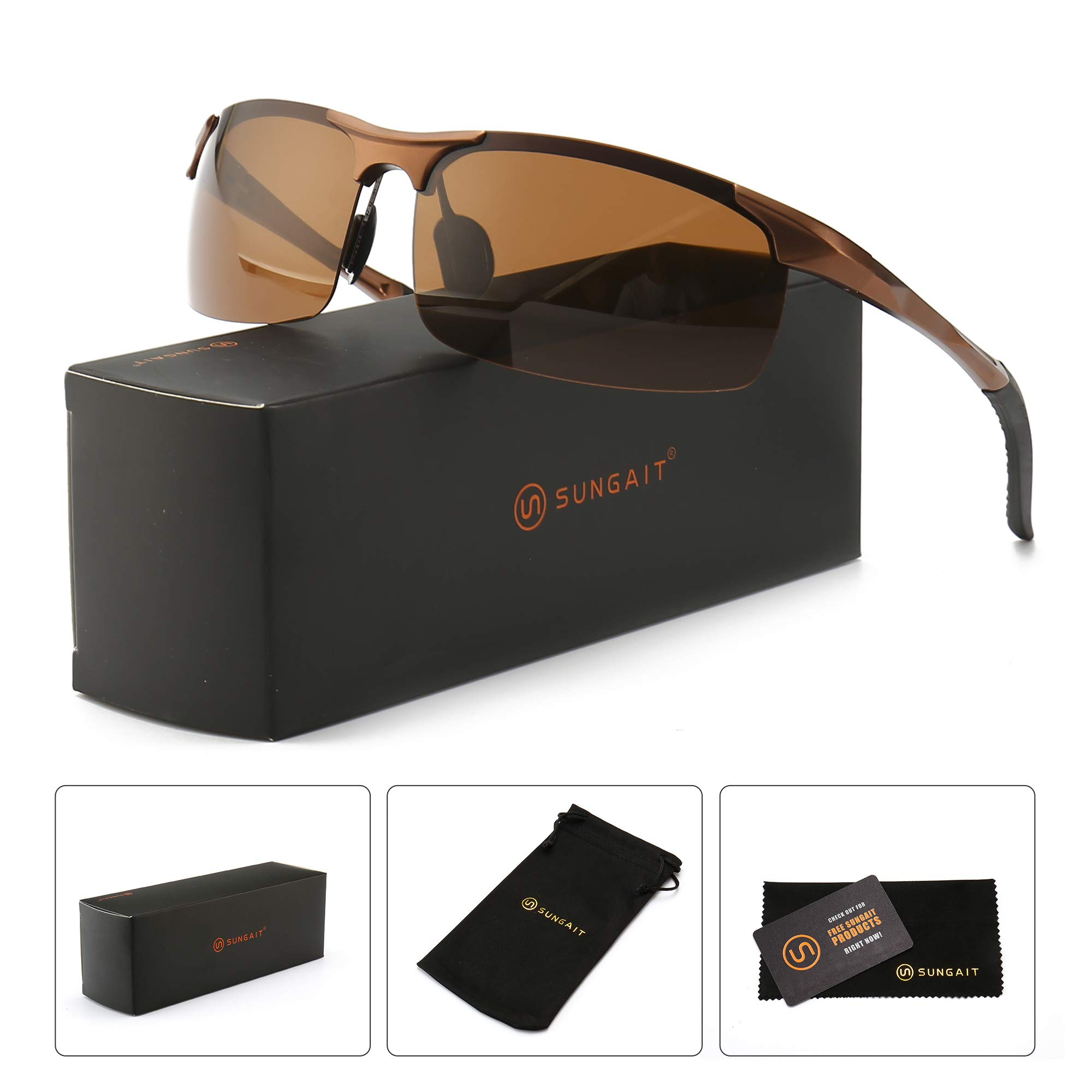 SUNGAIT Men's HD Polarized Sunglasses for Driving Fishing Cycling Running Metal Frame UV400 (Brown Frame Brown Lens) 8177CKC