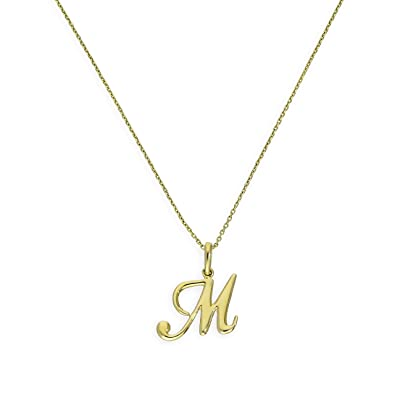 9ct Gold Fancy Calligraphy Script Letter M Pendant On 16 Inches Chain