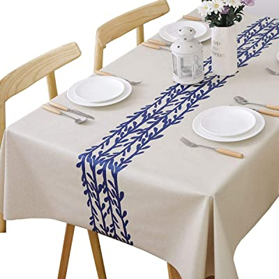WELTRXE PU Tablecloth Waterproof Oil-proof 140 x 200cm Rectangle Table Cloth Wipe Clean Heavy Duty Durable Wipeable Vinyl Oblong Table Cover for Indoor Outdoor Use Champagne Vine