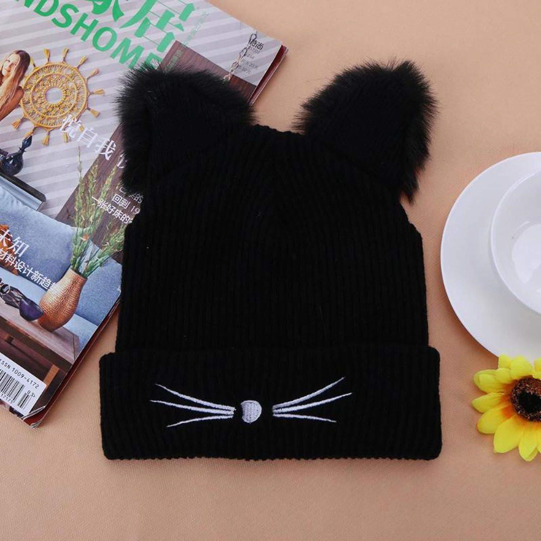 Warm Black Knitted Winter Hat for Women Cute Cat Ears Hat Skullies Hats Pompom Caps