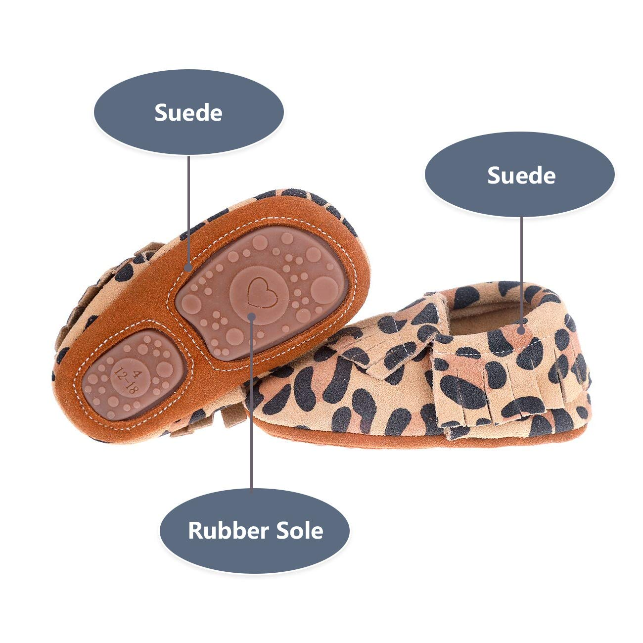 36c87ff1869 Pidoli Baby Leather Shoes Unisex Girls Boys Moccasins Rubber Sole larger  image