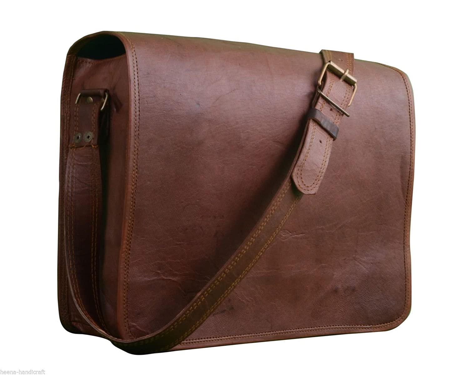 handolederco.. Leather Genuine Messenger Handmade Bag Laptop Satchel Bag Padded Messenger Shoulder School Bag 10X13X3 Inches Brown