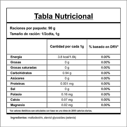 Golden Stevia edulcorante pura en polvo 90gr=1kg de reemplazo de azúcar 1:12 Stevia polvo zero carb dieta cetogenica, diabeticos, veganos, polvo de ...