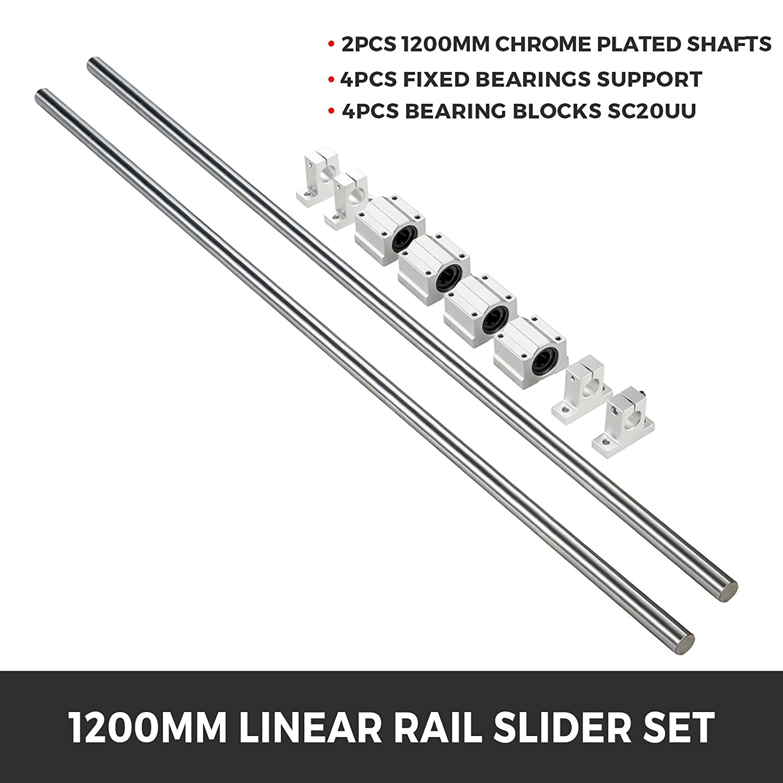 SBR16-1000mm Linear Slide Rail Shaft Aluminum Alloy 2 Pcs Linear Rail Shaft 4pcs SBR16UU Baring Slide Block Made of High Carbon Steel