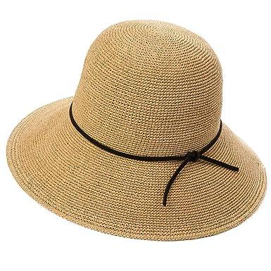 2fa18ba11d4ca Ladies Floppy Summer Sun Beach Straw Hats UPF Packable Bucket Cloche  56-59cm Camel