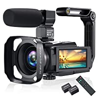 4K Video Camera Camcorder, Vlogging Camera 48MP 60FPS YouTube Camera WiFi Night Vision IPS Touch Screen Video Camera Digital Camera with External Microphone, Stabilizer, 2.4G Remote Control, Hood