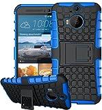 HTC One M9 Plus Hülle,HTC One M9+ Hülle,[Schwarz+Blau]Outdoor Schutzhülle,Rüstung Serie Hohe Qualität Schutzhülle Muster Schutz Handy Hülle Case Back Cover Tasche Mit Ständer