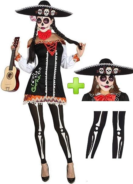 Disfraz de Catrina Mariachi corta: Amazon.es: Ropa y accesorios
