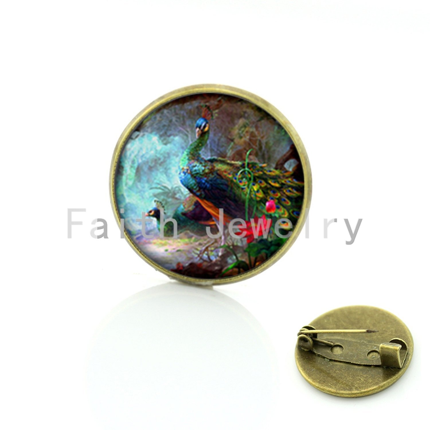 Vintage Woman Animal Brooch Glass Dome Art Picture Birds Brooches Pins For Suit Sweater Carves,11