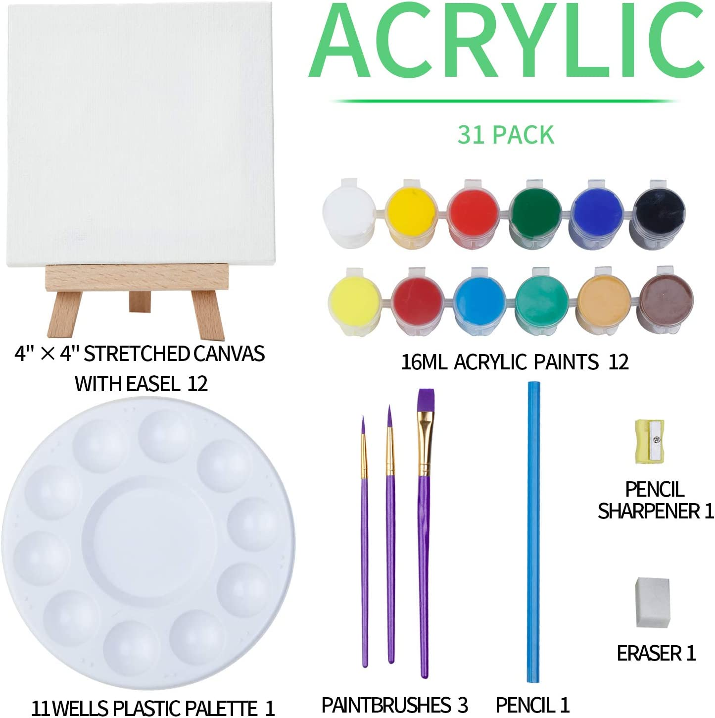 Elegant Gift Box for Kids and Beginners 12/×16ML Acrylic Paint Set MEEDEN 43-Piece Acrylic Painting Set 3Paintbrushes and All The Additional Supplies 12Mini Beech Wood Easels and 12Stretched Canvas