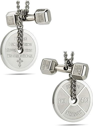 Shields of Strength Mens Antique Finish Dumbbell Necklace-Luke 1:37