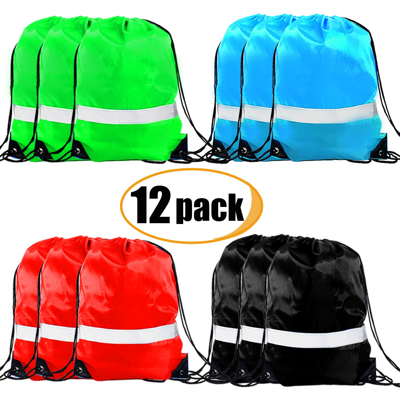 Drawstring Backpack Bags - 12 Pack Reflective Sack Backpack Sport Gym Cinch Bag Travel Fabric Drawstring Backpacks