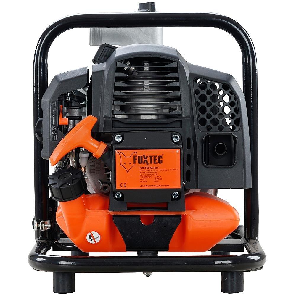 FUXTEC Benzin Wasserpumpe FX-WP152 mit 15.000 l Fördermenge und max. Förderhöhe 35 m Gartenpumpe Teichpumpe