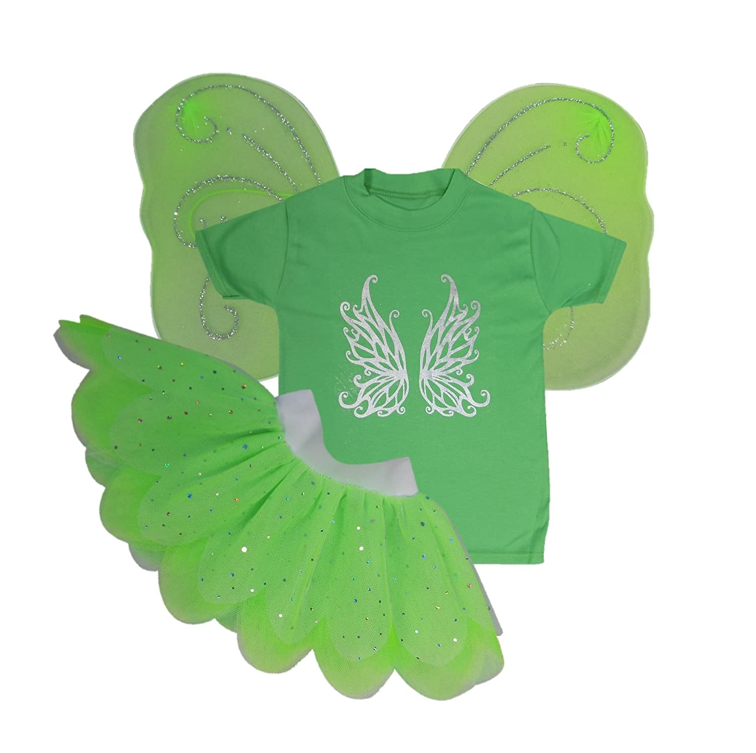 Baby Girls Metallic Tinkerbell Fancy Dress Costume Tutu Wings