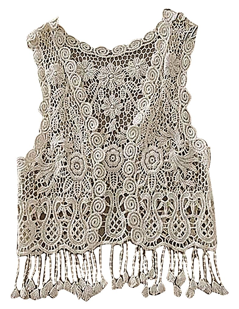 BPrincess Baby Girls White Crochet Tassel Edge Sleeveless No Closure Cardigan, Beige One Size
