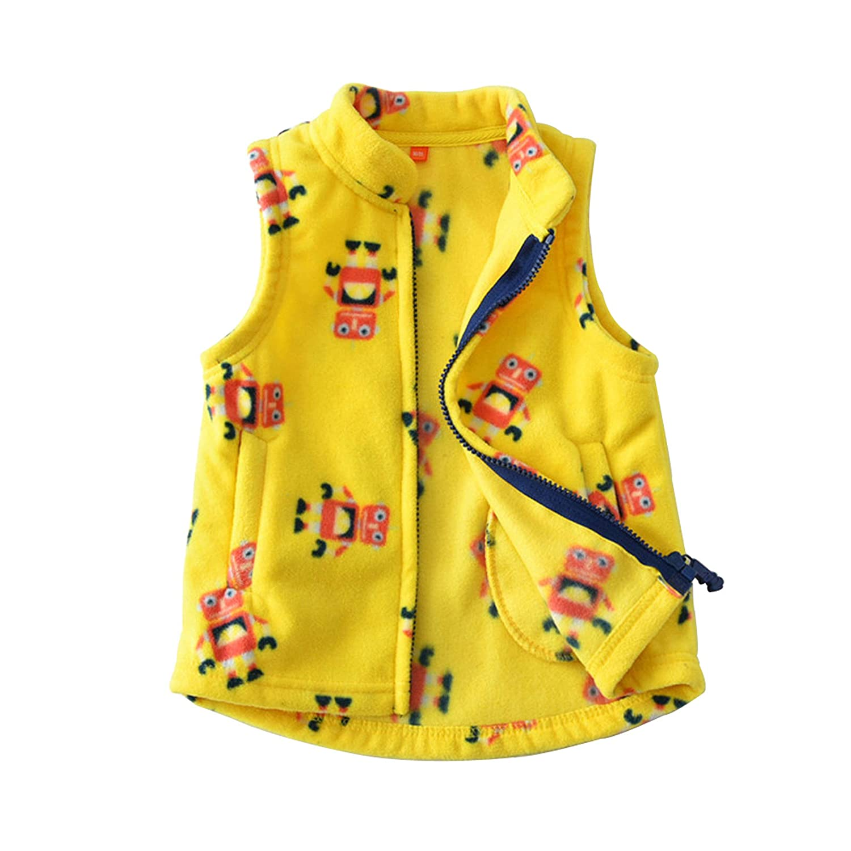 HUAER/& Baby Boy and Girl Fleece Zipper Embroidery Pattern Vest