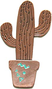 Cactus Magnet (Bronze) Arizona Gift Souvenir Decorative Metal Refrigerator Magnet Southwest Gift Idea