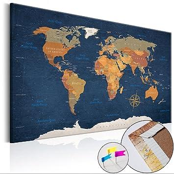 Weltkarte Pinnwand 90x60 Cm Leinwand   Bilder Leinwandbilder   Fertig  Aufgespannt Auf Dicker 10mm Holzfasertafel!