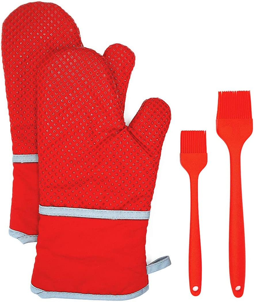 Extra Long Oven Mitts and Oil Brush 4pcs Set, 500℉ Heat Resistant Non-Slip Food Grade Kitchen Mitten Silicone Cooking Gloves s for Kitchen, Cooking, Baking, BBQ (Red)